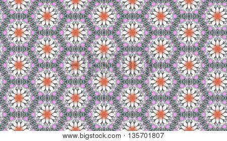 Seamless tribal pattern. Hexagonal vector background. Floral kaleidoscope.