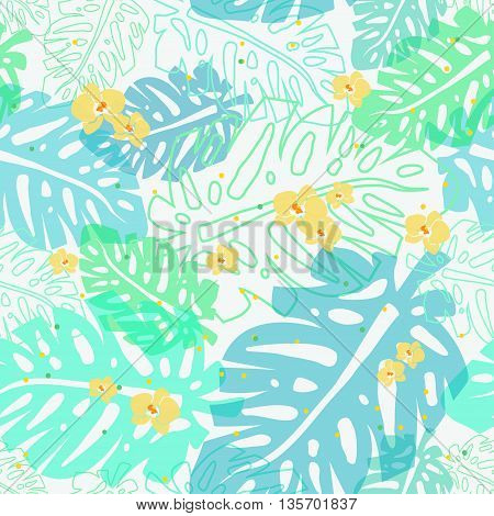 vector seamless pattern with palm leaves and small yellow orchids