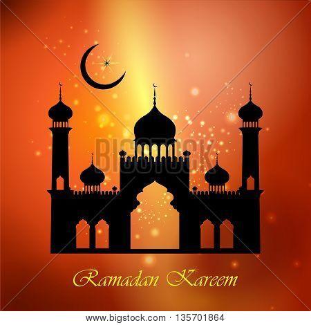 vector illustration of mosque on Ramadan Kareem Happy Ramadan background