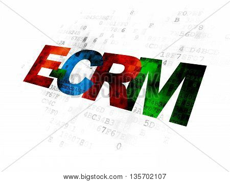 Finance concept: Pixelated multicolor text E-CRM on Digital background