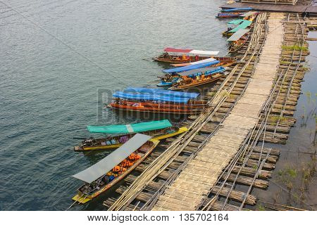 wooden harbor , harbor  in countryside , Thailand