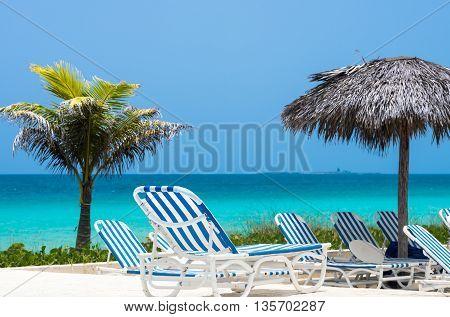 Sun lounger with ocean view in Cuba Cayo Santa Maria