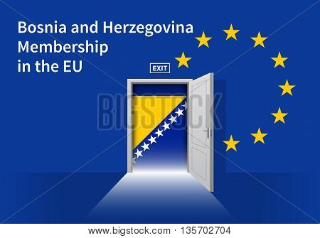 Flag of the Bosnia and Herzegovina and the European Union. Bosnia and Herzegovina Flag and EU Flag. Abstract Bosnia and Herzegovina exit in a wall