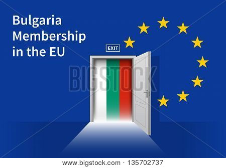 Flag of the Bulgaria and the European Union. Bulgaria Flag and EU Flag. Abstract Bulgaria exit in a wall