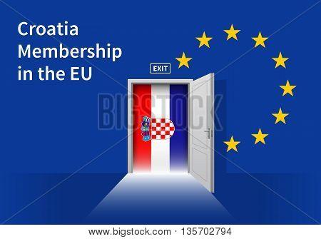 Flag of the Croatia and the European Union. Croatia Flag and EU Flag. Abstract Croatia exit in a wall