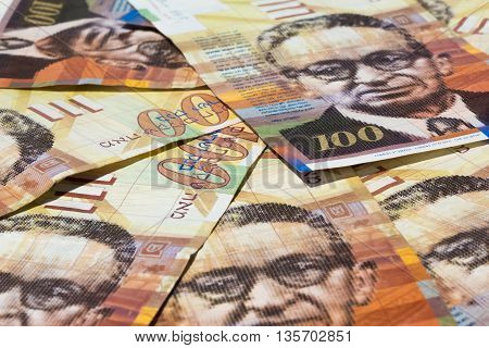 Stack Of Israeli Money Bills Of 100 Shekel
