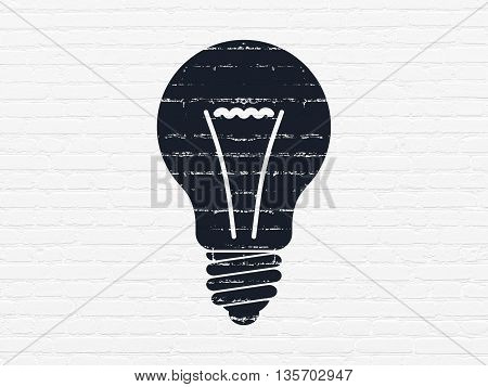 Finance concept: Painted black Light Bulb icon on White Brick wall background