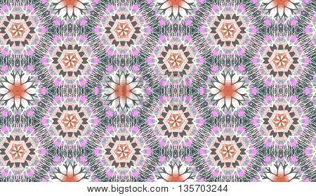 Vector seamless decorative background. Ethnic hexagonal kaleidoscope.