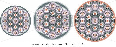 Set of three round patchwork carpets with ornamental hexagonal patches. Vector illustration.