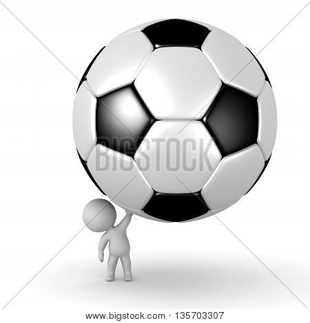 Small 3D character holding up a large soccer football ball. Isolated on white background.