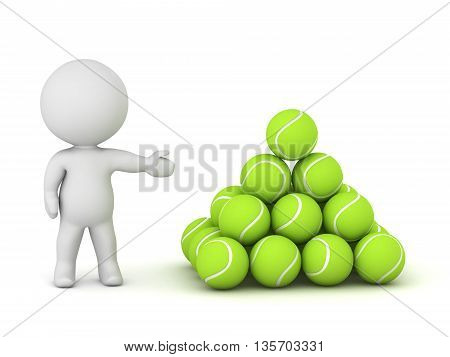 3D character showing a neat pile of tennis balls. Isolated on white background.