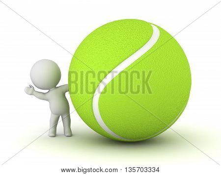 3D character waving from behind a large tennis ball. Isolated on white background.