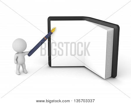 3D character with a large fountain pen and a large open notepad. Isolated on white background.