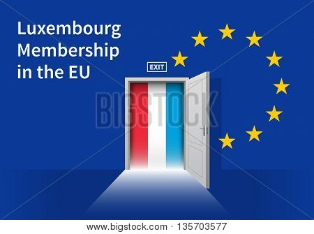 Flag of the Luxembourg and the European Union. Luxembourg Flag and EU Flag. Abstract Luxembourg exit in a wall