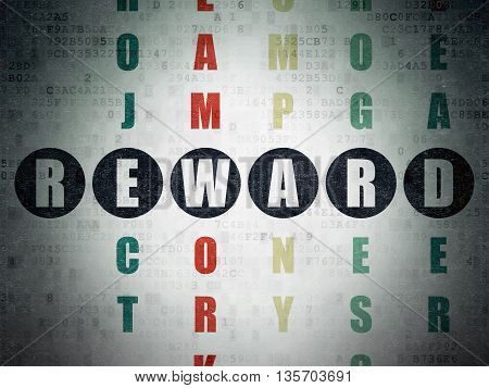 Finance concept: Painted black word Reward in solving Crossword Puzzle on Digital Data Paper background