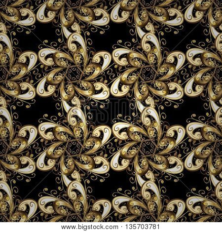 Seamless vintage pattern on black background with golden elements and shadows