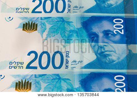 Stack Of Israeli Money Bills Of 200 Shekel - Top View