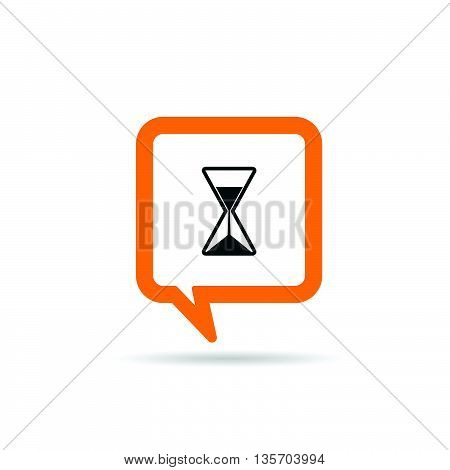 Square Orange Speech Bubble With Sands Clock Illustration