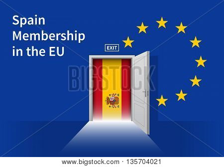 Flag of the Spain and the European Union. Spain Flag and EU Flag. Abstract Spain exit in a wall