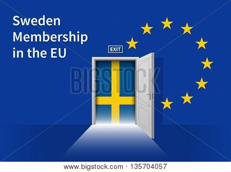 Flag of the Sweden and the European Union. Sweden Flag and EU Flag. Abstract Sweden exit in a wall