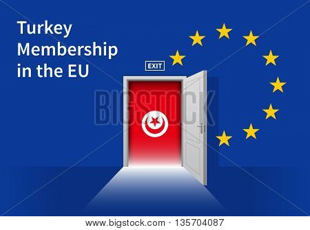 Flag of the Turkey and the European Union. Turkey Flag and EU Flag. Abstract Turkey exit in a wall