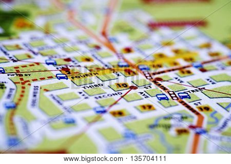 Closeup map of city with streets for travel destination driving