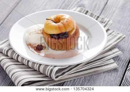 Baked Apple With Ice Cream