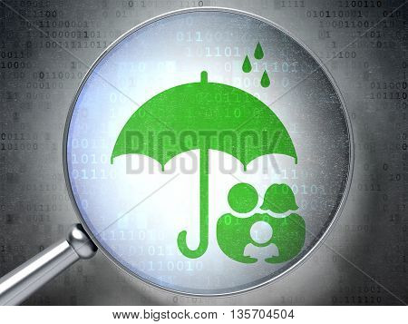 Security concept: magnifying optical glass with Family And Umbrella icon on digital background, 3D rendering