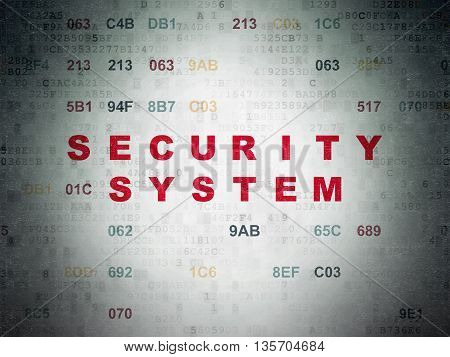 Privacy concept: Painted red text Security System on Digital Data Paper background with Hexadecimal Code