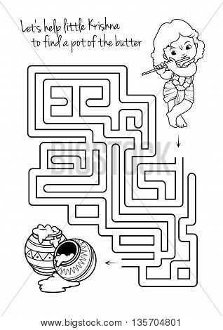 Maze game for kids with Krishna and butter. Let's help little Krishna to find a pot of the butter. Vector template page with game in black and white style.