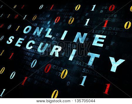 Protection concept: Pixelated blue text Online Security on Digital wall background with Binary Code