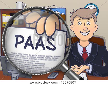 Businessman in Suit Showing Paper with Concept PAAS - Platform as a Service - through Lens. Closeup View. Multicolor Doodle Style Illustration.