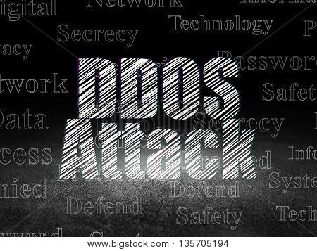 Privacy concept: Glowing text DDOS Attack in grunge dark room with Dirty Floor, black background with  Tag Cloud