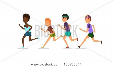 Athletes running one after the other in shorts and T-shirts. Vector illustration. White background. EPS 10