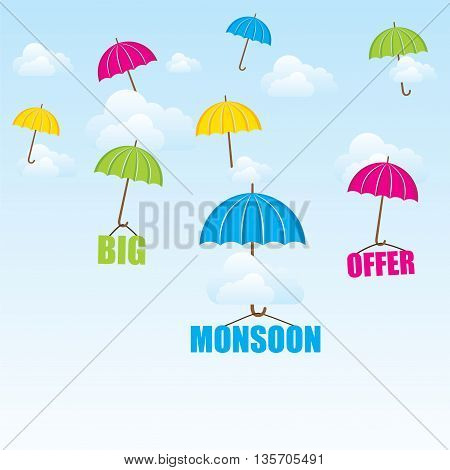 creative big monsoon offer poster or banner design vector