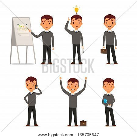 Several types of business, businessman prizentuet pie charts, talking on mobile phone, reading the paper, looking for ideas, standing with briefcase, raised his hands to the top.Isolated on white background. Vector illustration. EPS 10