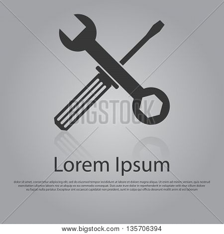 Vector Icon Of Wrench And Screwdriver