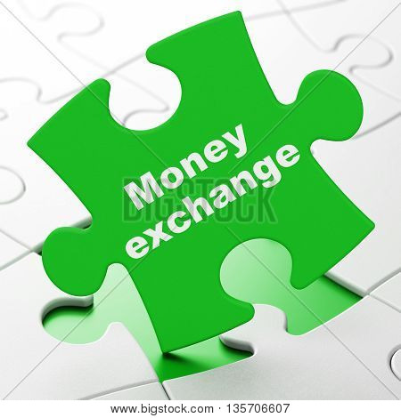 Banking concept: Money Exchange on Green puzzle pieces background, 3D rendering