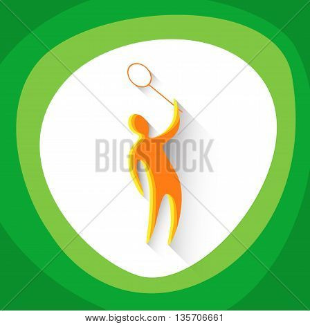 Badminton Player Sportsman Sport Game Logo Competition Icon Vector Illustration