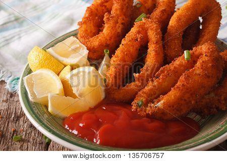Calamari Rings Fried In Breadcrumbs Macro With Ketchup And Lemon. Horizontal