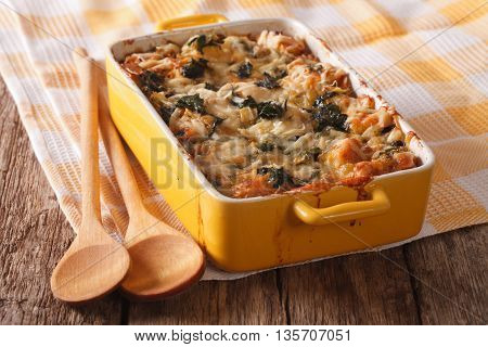 Strata Casserole With Spinach Close Up. Horizontal