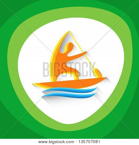 Canoe Sprint Athlete Sport Game Logo Competition Icon Vector Illustration