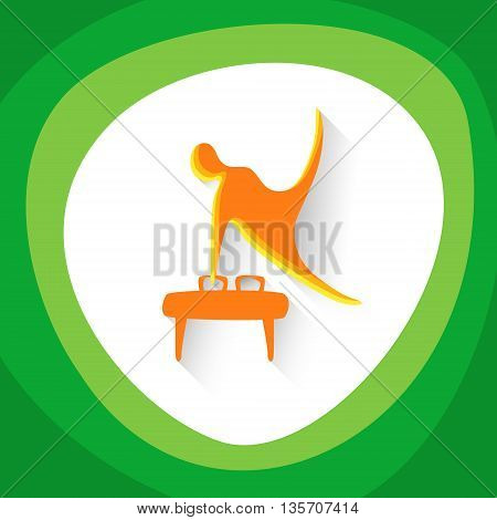 Sport Game Logo Gymnastics Athlete Competition Icon Vector Illustration