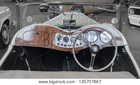 Verona Italy - May 09 2015: Dashboard detail of an old vintage car.