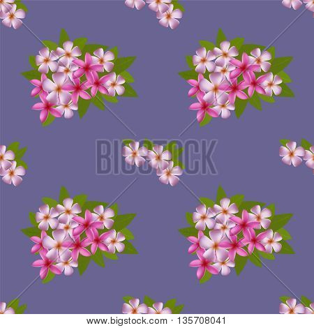 Seamless pattern with exotic tropical flowers and leaves. Plumeria bouquet. Vector background.
