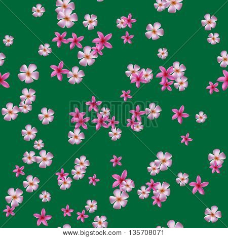 Seamless pattern with pink plumeria on green backgound.