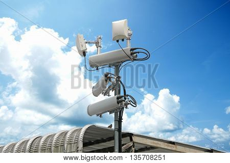 Cellular Network Antenna With Wifi Hotspot Repeater And Blue Sky.