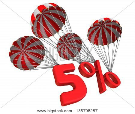 Five percent is falling down on parachute. Isolated. 3D Illustration