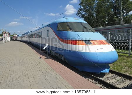 MOSCOW, RUSSIA - JUNE 23, 2016: Museum of Railway Transport of the Moscow railway experienced Russian high-speed passenger train