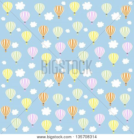 aerostats in sky. seamless pattern, balloons in the sky surrounded by white clouds, , vector illustration
